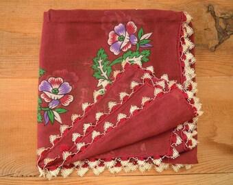 burgundy cotton scarf with needle lace trim, turkish oya