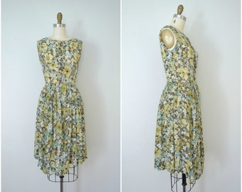 1950s sweet floral springtime dress // shades of green and blue sheer tank dress // extra small