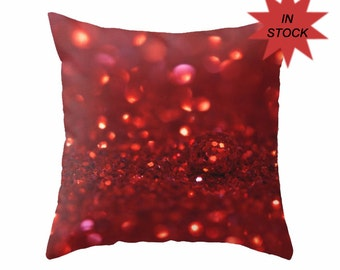 """Abstract Pillow Case, Holiday Cushion Cover, 18"""" Red Art Studio Sofa Accent, Teenage Girl's Bedroom Large Throw Cushion Cover, Macro Bokeh"""