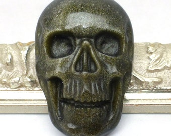 Golden Sheen Obsidian Cabochon Skull Gold Sheer Opaque Handmade Carved Halloween Day of the Dead Biker One of a kind Carving