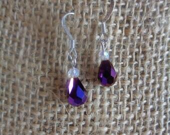 Plum Drop earrings- plum glass bead drop earrings