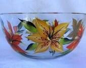 Hand painted bowl, large bowl, tiger lilies, serving bowl, kitchen decor