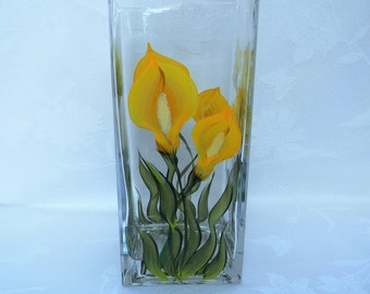 Vase, hand painted vase, flower vase, glass vase, large vase, decorative vase, tall vase, vase with calla lilies
