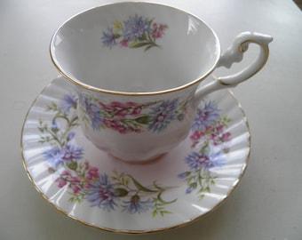 Rosina Fine Bone China tea cup and saucer, Wildflowers