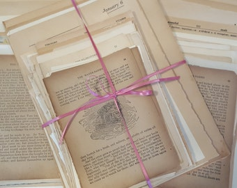75 Vintage Book Pages, Patina Book Pages, Lot of 75 Full Pages, Vintage Ephemera, Many Sources, Mixed Media Supply,