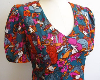 Vintage 60s Mod Gibson Girl Novelty Print Nylon Jersey Corky Craig Mini Dress