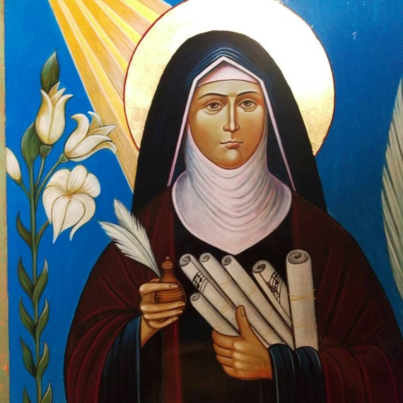 St Hildegard of Bingen Icon, 16 X 20 inches handpainted icon, Made to Order Icon