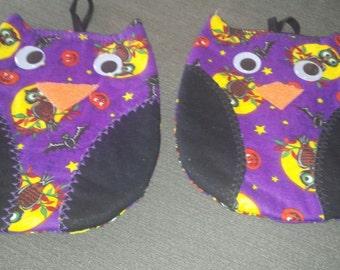Halloween owl pot holders