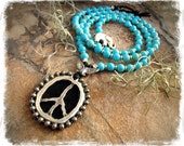 Flying PEACE Sign NECKLACE Shanti spirit Turquoise necklace Angel Wings OM symbol Yoga Meditation Boho Hippie silver beaded jewelry GPyoga