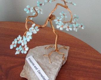 Gemstone tree made with amazonite and carnelian