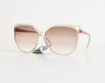 Vintage 70s 80s Clear Pink Sunglasses Brown Lenses