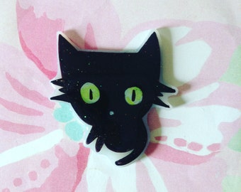 BLack Cat brooch, Pinback, creepy cute, cat lover, Halloween cat pin, spooky Pinback