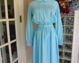 Vintage 60s 1960s Bobbie Brooks Dress Light Blue Silk Look Smocked Long Sleeve Belt Waist Dolly Dress S Small