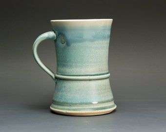 Handmade pottery coffee mug or stoneware teacup slate blue 14 oz 2793