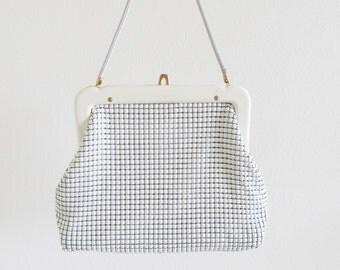 Vintage 1960's White Metal Square Handbag Purse / Retro Chain Mail Mesh Handbag