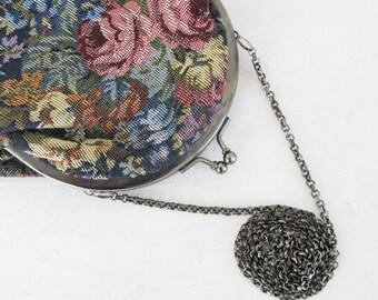 Vintage Tapestry Edwardian Bag Purse / Victorian Rose Print Carpet Bag