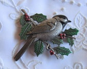 Vintage Pewter Chickadee Brooch with Green Holly and Red Berries by JJ