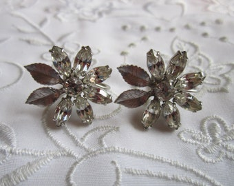 Vintage Silver Tone Flower Screw Back Earrings with Clear Rhinestone Petals
