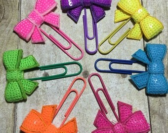 Planner Clips - Neon Sequin Bow For Planners, Calendars, Or Books