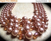 Store Wide Sale 1950's Pearl Necklace ~ Classic Multi Strand Bead Necklace~ Pearl Pink Copper Bib Necklace- Pink pearl  Necklace- Chunky Sta