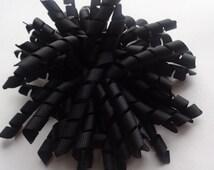 Black Corker Bow ready to ship black pom pom hair bow girls black bow korker black bow