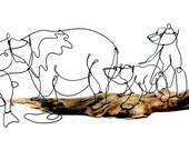 Bear and Cubs Wire Sculpture, Bear Art, Minimal Sculpture, 265342431