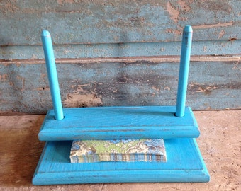 Turquoise Distressed Napkin Holder Wooden Painted