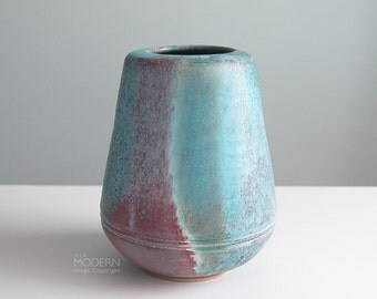 Mid Century Modern Studio Pottery Blue Maroon Cone Vase Pot