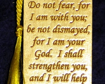 Wood Scripture Bookmark - Isaiah 41:10