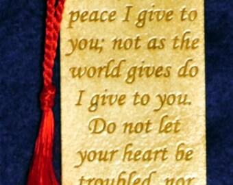 Wood Scripture Bookmark - John 14:27