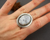 Crazy lace agate and sterling silver ring- size 7.5 US
