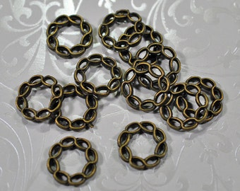 Twisted antique brass rings, 15mm, #761