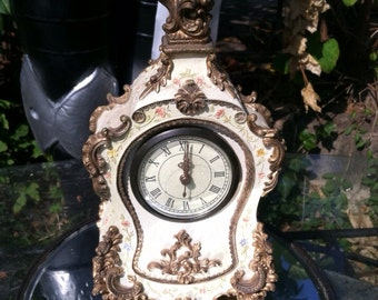 vintage clock french ornate battery run flowers mantle clock