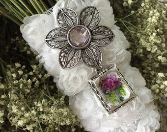 Bouquet Pendant with Photo Charm