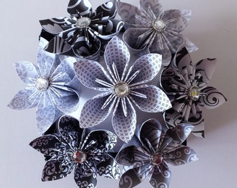 3d Origami  Black - Gray - White Star flowers in box