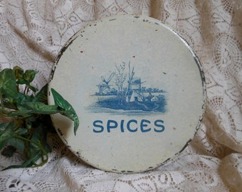 Kitchen Spices Tin Delft Blue on Cream Vintage at Quilted Nest