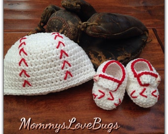 Baseball Crochet Beanie and Booties Set - Newborn through 12 Month Sizes