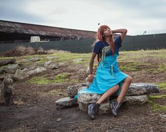 Sang Bleu Dress w/ Beading and Mermaid Embellishment Size Small-Medium Backless Highlow