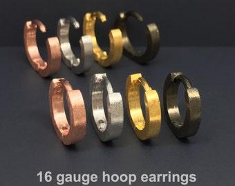 16 gauge hoop earrings, 16 gauge cartilage earrings, men's hoop earrings, gauged earrings, 16 gauge hoop,  E140 16G