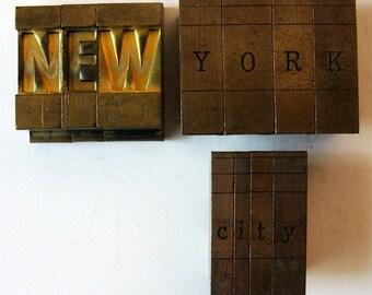 Vintage Ludlow Mats Matrices Brass NEW YORK CITY Tempo Bold Condensed 60 pt Printing Type