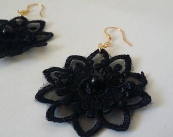 14k gold & silver black lace earrings *FREE SHIPPING*