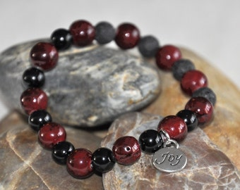 Essential Oil Diffuser Bracelet with Diffusing Lava Beads, Gemstones and Charm, Stretch Beaded Bracelet