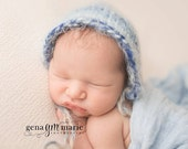 Baby Bonnet - Knit Newborn Bonnet in Blue Tan White Fuzzy Mohair -Boy Hat - Newborn Hat - Newborn Photo Prop - Knit Baby Hat - Photo Prop