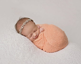 Baby Headband and Baby Wrap Set, Stretch Knit Peach Wrap, Gold Rhinestone Headband, Baby Girl Wrap, Newborn Photo Prop, RTS, Baby Props