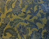 Handmade cotton print tablecloth green blue paisley patterned gold yellow background 53 inches square