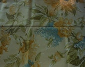 Handmade cotton print tablecloth big floral yellow blue gold green all over design 52 by 70 inches oblong