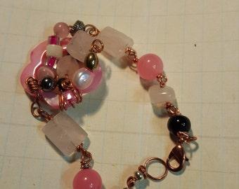 Pink in Quartz, Jet and Agate Bracelet