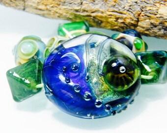 Green / Blue Focal Beadset (8) by Caroline Dousi