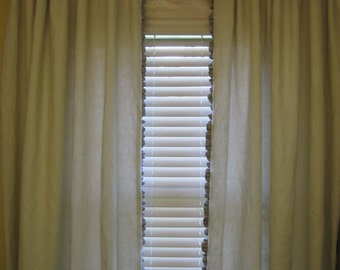 "Lined Rod Pocket Drapery Panels in Antique White Linen- 1"" Ruffled Detail in Flax Linen-White Drapery Lining-One Pair of Rod Pocket Panels"