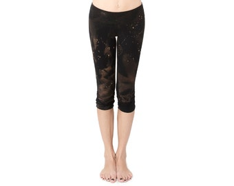 Black Splatter Leggings - Black Leggings - Organic Cotton Black Leggings - Yoga Pants - Yoga Clothing - Capri Leggings